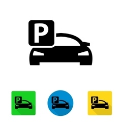 Black car parking icon vector