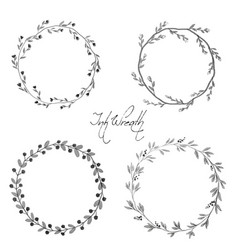 Black ink style floral wreath frame collection vector