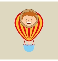 Boy lovely smiling airballoon graphic vector