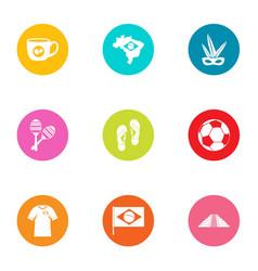 Brasilia icons set flat style vector