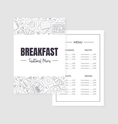 Breakfast traditional menu template morning food vector