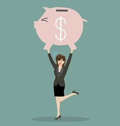 Business woman lifting a piggy bank vector