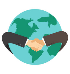 businessman hand shaking hand with earth vector image
