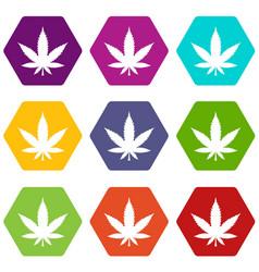 cannabis leaf icon set color hexahedron vector image