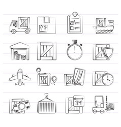 cargo shipping logistics and delivery icons vector image