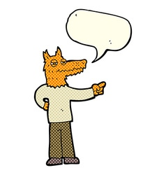 Cartoon pointing fox man with speech bubble vector