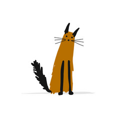 cat sketch for your design vector image