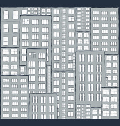 city panorama of houses hand drawn vector image