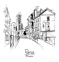 cozy paris street france vector image