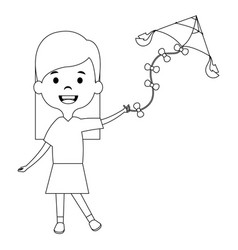 cute and little girl flying a kite vector image