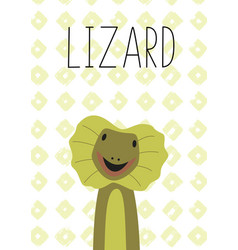 cute lizard cartoon poster vector image
