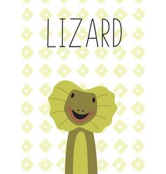 Cute lizard cartoon poster vector