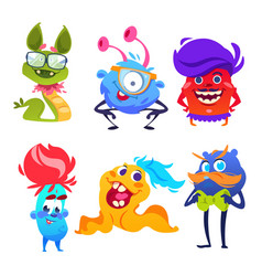 cute monsters happy cartoon mutant and goblin vector image