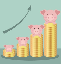 Cute Piggy Bank With Stack Coins Form Bar Chart vector