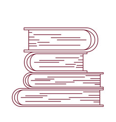 Dark red line contour with stack of books vector