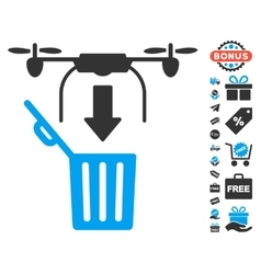 Drone Drop Trash Icon With Free Bonus vector image