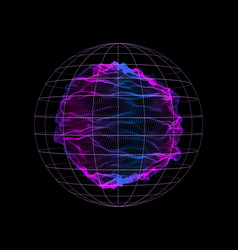 dynamic particles wave from nodes 3d sea sphere vector image