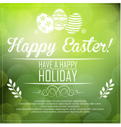 Easter card on green background vector