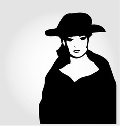 Elegant woman in a hat vector image