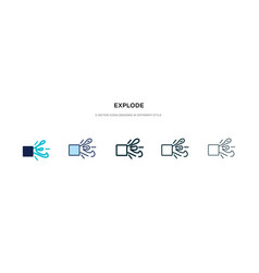 Explode icon in different style two colored vector