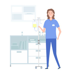 female doctor holds a stand with a dropper in her vector image