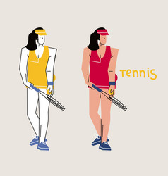 female tennis player hand drawn vector image