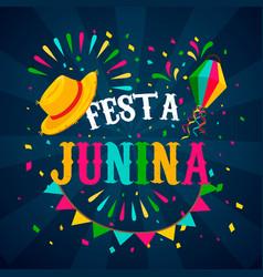 festa junina card straw hat for brazilian event vector image