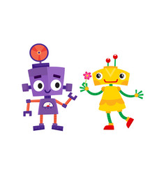 Flat cartoon funny girl and boy robots vector
