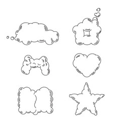 forms of clouds in linear style vector image
