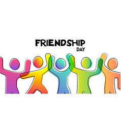 Friendship day card colorful friend group vector