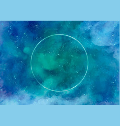 Galaxy background with circle in neon vector