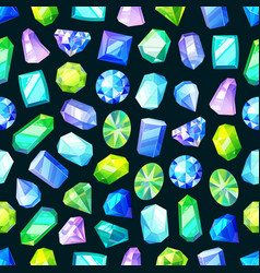 gems seamless pattern jewelry crystal diamonds vector image