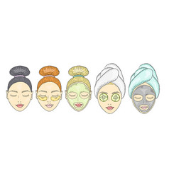 Girl face with a bundle or towel on her head vector