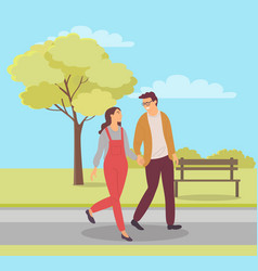 girlfriend and boyfriend in park couple vector image