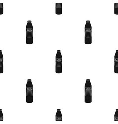 glass milk bottle icon in black style isolated on vector image