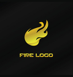 gold fire logo template vector image