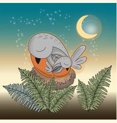 good night bird animal set vector image