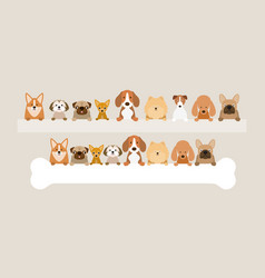 Group of dog breeds holding bone and banner vector