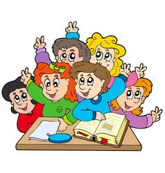 group of school kids vector image