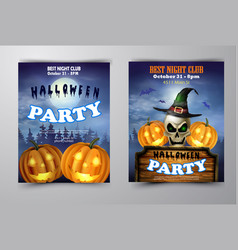 halloween vertical background with pumpkins vector image