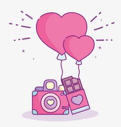 Happy valentines day photo camera chocolate bar vector
