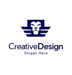 Head lion wings freedom creative logo design vector