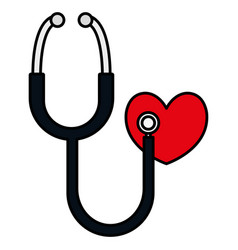 heart cardio with stethoscope vector image