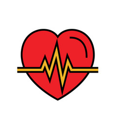 Heartbeat icon automated external defibrillator vector