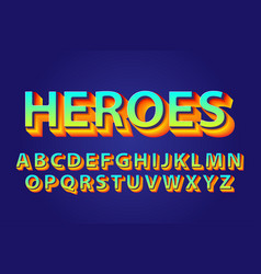 heroes bold alphabets vector image