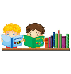 Kids reading english book vector