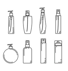 line spray bottle beauty set vector image