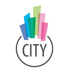 Logo multicolored houses in town vector