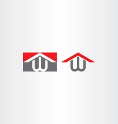 Logotype w letter w house home logo vector
