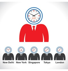 Mans face showing time of different countries vector